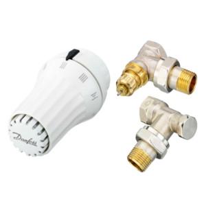 Комплекты радиаторных терморегуляторов Danfoss RAE, RA-FN, RLV-S угловой, Ду15, арт. 013G5083