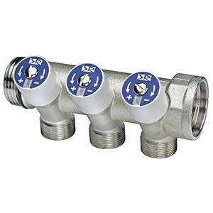 Коллектор SR Rubinetterie распределительный со встроенными клапанами 1х1/2 на 2 выхода, 0054-2500N200