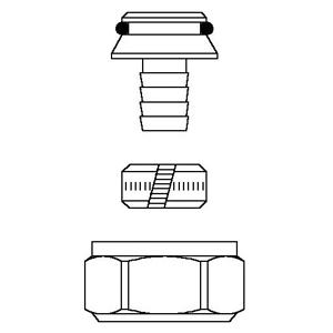 """арт. 1027757 Oventrop Присоед. набор со стяж.кольцами """"Ofix K"""" для НР3/4 16*2мм, для труб из сшитого полиэтилена, с НГ никелир."""