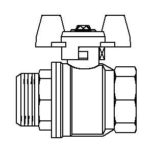 """""""Optibal"""" шар. кран, маховик из алюминия Ду15, G 1/2""""ВР, G 1/2""""НР, PN20, PN16, латунь Артикул №: 1076304"""