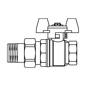 """кран шаровой """"Obtibal"""", латунный, рукоятка бабочкой Ду15, с одной стороны внутренняя резьба 1/2"""", с другой ниппель с наружной резьбой и накидной гайкой, PN16 Артикул №: 1075804"""